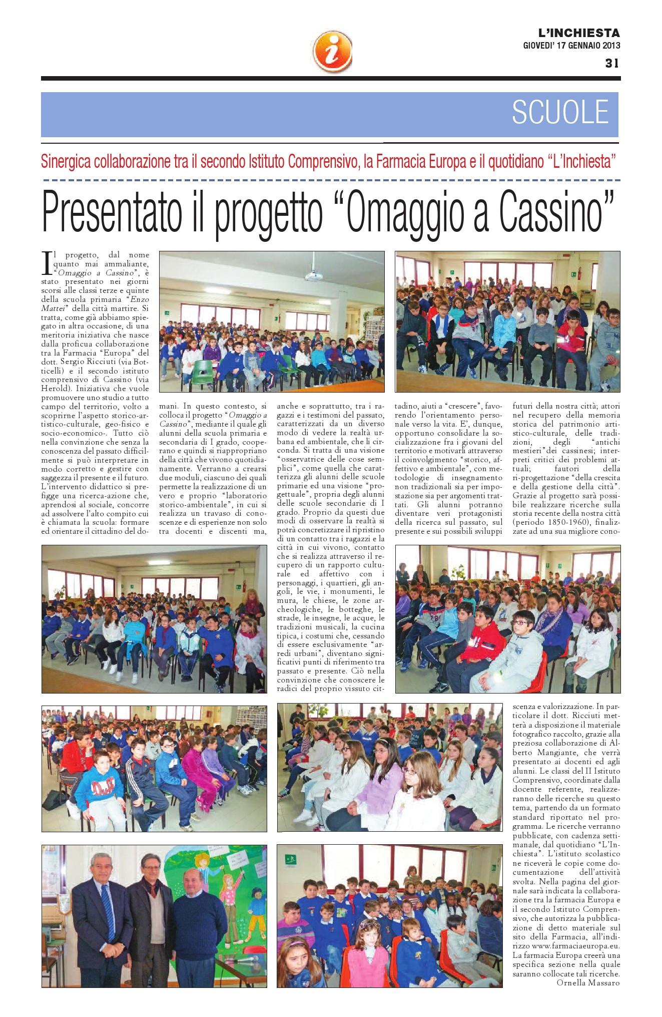 """Progetto """"Omaggio a Cassino"""""""